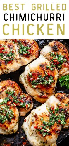 Best Grilled Chimichurri Chicken. Take your traditional chicken dinner to the next level with this super easy and tasty Chimichurri chicken recipe! Your whole family will be raving about this recipe! Chimichurri is growing fast in popularity and is the most perfect condiment to serve with your chicken or steak! So easy to make and tastes incredible, your Chimichurri Chicken dinner is ready in minutes! #chicken #chickenrecipes #healthydinnerrecipes Yummy Chicken Recipes, Healthy Dinner Recipes, Diet Recipes, Chimichurri Chicken, Baked Chicken, Grilled Chicken, Skinny Kitchen, Easy Food To Make, Super Easy