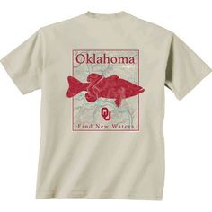 New World Graphics Men's University of Oklahoma Angler Topo Short Sleeve T-shirt (Beige Light, Size Small) - NCAA Licensed Product, NCAA Men's Tops...