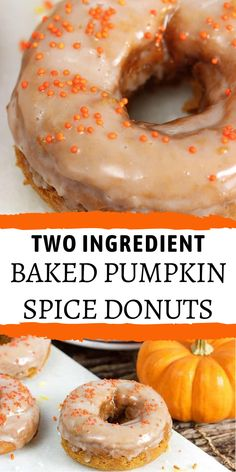 Get your pumpkin spice fix in a soft, tender donut! Two Ingredient Baked Pumpkin Spice Donuts are simple to make with just a box of cake mix and a can of pumpkin. Lightly spiced and dipped in a vanilla glaze, these are your breakfast goals achieved! Cake Mix Donuts Recipe, Cake Mix Recipes, Dessert Recipes, Cake Mixes, Easy Desserts, Baked Pumpkin, Pumpkin Recipes, Fall Recipes, Pumpkin Foods