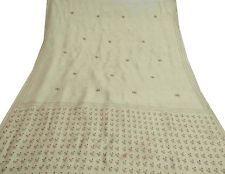 Vintage India Art Silk Embroidered Saree Fabric Wrap Art Craft Deco Beige Sari