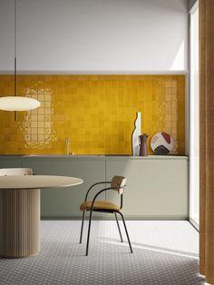 Estilo Interior, Home Interior, Interior Design Kitchen, Interior Architecture, Kitchen Color Design, Small Kitchen Interiors, Yellow Interior, Commercial Interior Design, Interior Modern