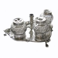 Antique silver ink stand