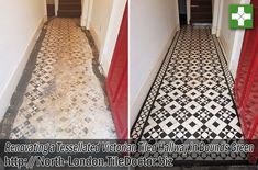 Bounds Green in North London has more than its fair share of Victorian terraced houses packed with desirable original features. When the owners of this house pulled up their hallway carpet they were excited to discover a beautiful and original black and white Tessellated tiled floor.