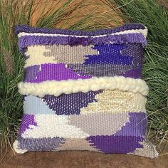 hand woven pillow with leather back and side zipper. farronfeiner.etsy.com