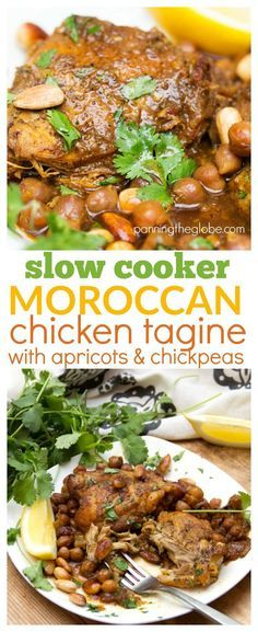 Slow cooker chicken tagine with apricots and chickpeas: The long slow cooking gets the  chicken extremely tender. Serve with fluffy white rice to soak up all the delicious sauce!