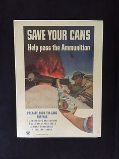 """Unique World War II poster showing tomato cans becoming bullets for two American GI's firing a machine gun while an enemy aircraft plummets to the ground overhead. Although it is not dated, the poster, by artist """"McClelland Barclay USNR,"""" was most likely produced early in the war because of the """"pancake""""-style helmets worn. And the soldiers may be Marines, based on the type of rank chevron on the sleeve shown and the fact that a United States naval reservist did the artwork."""