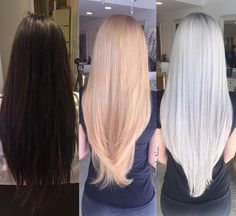 Dark Brown to Platinum | Hair stylist Nune @hairbynune made this transformation happen in just two sessions with Olaplex. We love seeing the progress! #olaplex #platinum #blonde #transformationtuesday #hairgoals