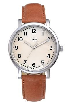 Timex® Round Leather Strap Watch, 42mm available at #Nordstrom