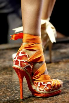 john galliano, fashion shoes, orang, christian dior, spring summer