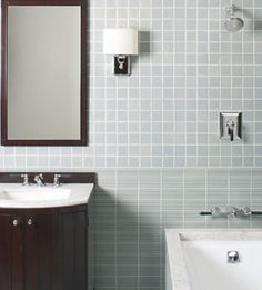 20 Bathroom Decorating Ideas You'll Fall In Love With!: Spare and Modern, Square Tiles and Dark Cabinet
