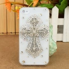 3D Crystal iPhone Case for AT Verizon Sprint Apple iPhone 4/4S Silver Cross
