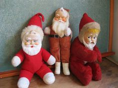 Vintage/Antique-Group of 3 Plush Santa Claus Dolls-Plastic Faces-Nice Variety