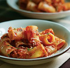 Rigatoni with Spicy Tomato-Vodka Sauce. This is on the menu for tomorrow night (3/30).