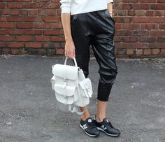 Grafea White Leather Backpack street style @Grafea
