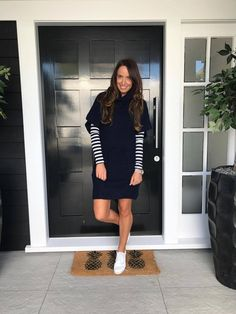 Augustine Tyler Chunky Knit Dress Knit Dress, Trending Outfits, High Neck Dress, Dresses With Sleeves, Knitting, Long Sleeve, Clothes, Collection, Fashion