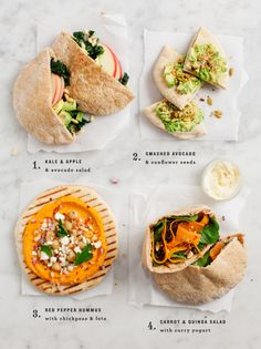 Carrot Quinoa Curry Pita: pita bread; carrot quinoa salad [quinoa, currants, carrot, salad greens, olive oil, lime juice, cumin, salt, pepper]; curry yogurt dressing [greek yogurt, lime juice, curry powder, salt]
