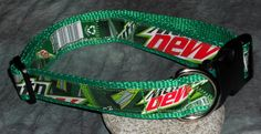 Adjustable Dog Collar from Recycled Mt Dew Soda Bottle Wrappers by squigglechick, $18.00