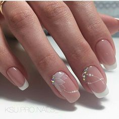 This would be very nice for a nail art wedding french manicure # . - This would be very nice for a nail art wedding French manicure … # French - Cute Nails, Pretty Nails, My Nails, Glitter Nails, Beautiful Nail Art, Gorgeous Nails, Elegant Nail Art, Nagellack Trends, Bride Nails