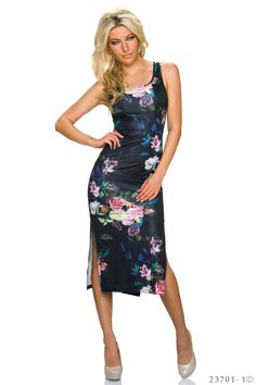 Distinguished Black Dress, sleeveless, print details, slightly elastic fabric, form-fitting