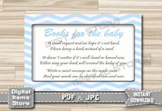 Baby Shower Bring a Book Instead of a Card - Invitation Insert Card Chevron - Insert Card Blue - Invitation Insert Card - INSTANT DOWNLOAD by DigitalitemsShop on Etsy