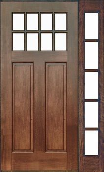 8 Lite Craftsman Style Mahogany Door With Single 5 Lite Full View Sidelight  U0026