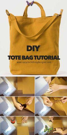 DIY Tote Bag Tutorial (Free Bag Pattern and Video!)  <br> Sacs Tote Bags, Diy Tote Bag, Diy Pouch Bag, Best Tote Bags, Fabric Tote Bags, Fabric Basket, Cute Tote Bags, Bag Patterns To Sew, Tote Pattern