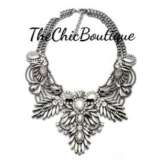 This is a beautiful silver colored statement necklace. Pair it with our clear elegant earrings for a complete look.  Fast and free shipping in the U.S. | Shop this product here: http://spreesy.com/TheChicBoutique/126 | Shop all of our products at http://spreesy.com/TheChicBoutique    | Pinterest selling powered by Spreesy.com