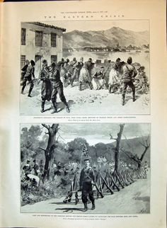 Antique Print of 1897 Eastern Crisis Insurgents Suda Canea Crete Turkish Troops British French