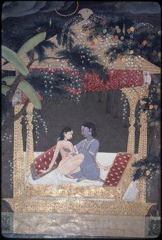 Union of Radha-krishna From Mughal Paintings, Old Paintings, Indian Paintings, Krishna Radha, Lord Krishna, Shivaji Maharaj Wallpapers, Miniature Paintings, Indian Artist, Soul Searching