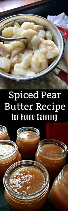 Spiced Pear Butter for Home Canning - Just before Christmas pears were on sale at Market Basket, so I picked up enough to squeeze in one - Pear Recipes, Jelly Recipes, Free Recipes, Spiced Pear Butter Recipe, Apple Butter, Canning Food Preservation, Preserving Food, Baked Chili Cheese Dogs, Home Canning