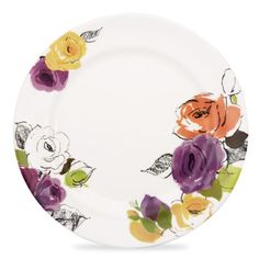 charcoal floral dinner plate / kate spade.