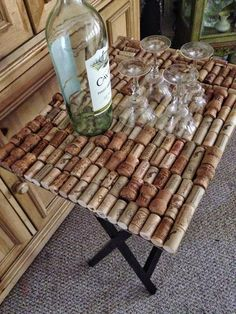 "Please follow and like us: This table was a labor of love! It took forever to save enough corks to make it. I had my sisters, co-workers, even my boss saving corks for me! It was actually pretty fun to see the different wines & I found a few new favorites through this research, lol! … Continue reading ""Wine Cork Table"""