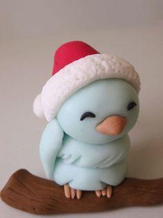 Fimo Vögelchen mit Weihnachtsmütze: