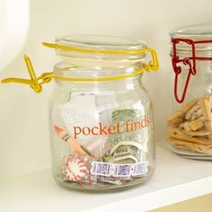 i recently washed the remote control. Although I don't think any jar could help that, i love this idea for those myriad other pocket finds