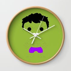 """Hulk - Available in natural wood, black or white frames, our 10"""" diameter unique Wall Clocks feature a high-impact plexiglass crystal face and a backside hook for easy hanging. Choose black or white hands to match your wall clock frame and art design choice. Clock sits 1.75"""" deep and requires 1 AA battery (not included)."""