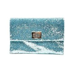 Pre-Owned Anya Hindmarch Nwt $575 Aqua Blue Glitter Embellished... ($185) ❤ liked on Polyvore featuring bags, handbags, clutches, blue, blue clutches, aqua handbag, blue purse, glitter purse and blue handbags