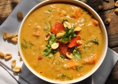 African Peanut Soup Creamy, delicious, and filling, this African peanut soup is brimming with rich full-bodied flavor and each serving contains a significant source of Vitamins A and C to boot - Feasting Not Fasting Peanut Butter Soup, Recipe Stew, Soup Recipes, Dinner Recipes, Cooking Recipes, Healthy Recipes, Curry Recipes, Recipies, Kitchen