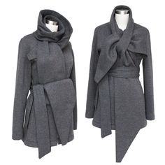 Structured Wrap Scarf Jacket in heavyweight 18.5oz high quality cotton poly sweatshirt fleece.  Pre-shrunk and relaxed prior to cutting to avoid twisting of seams and shrinkage.  Countless way to stylize, giving the look of a new jacket each day.  Made in Canada. $185. #erinalexandraklym #womensjackets #2014fashion