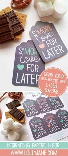 S'more Printable Gift Tags Free printable smore tags! Send your guests home with some s'more treats after a summer get together, so cute! Wedding Favor Tags, Wedding Party Favors, Wedding Gifts, Wedding Ideas, Wedding Bells, Wedding Stuff, Wedding Planning, Free Printable Gift Tags, Free Printables