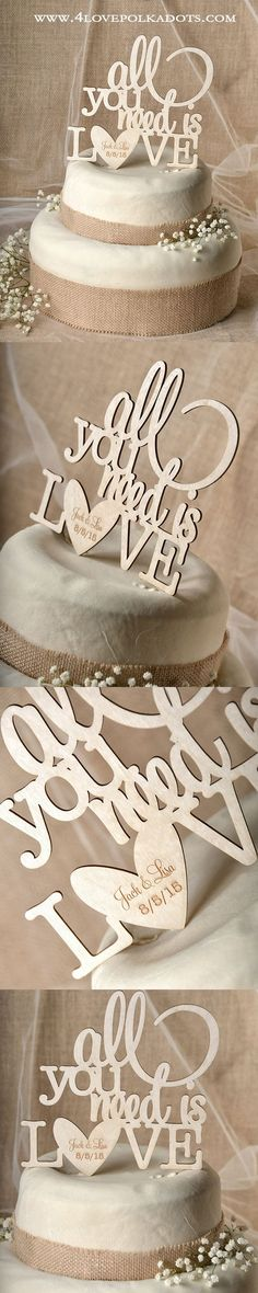 All You Need is Love ! Wedding Wooden Cake Topper || @4lovepolkadots