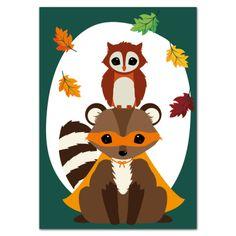 postkaart-woodland-halloween-wasbeer-uil-voorkant-oktoberdots