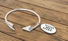 """Love this simple """"Follow Your Arrow"""" bracelet! http://www.countryoutfitter.com/style/kacey-musgraves-inspired-silver-bangle-bracelet/"""