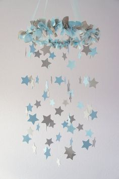 Boy Nursery Decor - Nursery Mobile Stars in Baby Blue & Gray (Would be just as sweet in pink and gray!) how cute would this be for Arlo's nursery! Baby Boy Rooms, Baby Bedroom, Baby Room Decor, Baby Boy Nurseries, Nursery Room, Nursery Decor, Nursery Ideas, Boy Decor, Baby Mobile