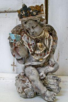 Angel cherub statue with hand made crown ooak by AnitaSperoDesign, $255.00