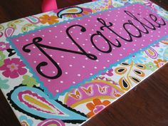 custom painted whole name canvas painted to match by misspokadot, $36.00