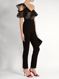 SELF-PORTRAIT   One-shoulder guipure-lace jumpsuit