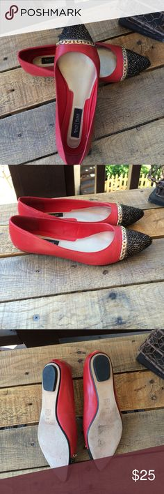 White House / Black Market flats White House/Black Market red leather flats, with black lacy toes and gold chain accents.  Good condition. BCBGeneration Shoes Flats & Loafers