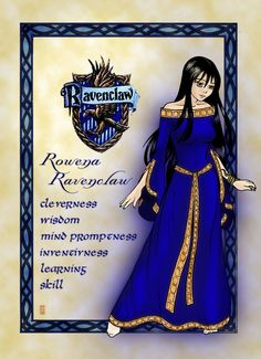Rowena Ravenclaw- I'm a Ravenclaw! Harry Potter Friends, Harry Potter Houses, Harry Potter Books, Harry Potter Characters, Hogwarts Houses, Harry Potter Hogwarts, Harry Potter World, Hogwarts Founders, Hogwarts Crest