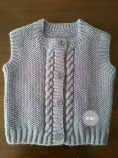Round Collar Kids Jacket Recipe with Rice Pattern Auger Pattern. Baby Knitting Patterns, Knitting For Kids, Crochet For Kids, Knitting Designs, Free Knitting, Crochet Baby, Knit Crochet, Baby Boy Vest, Baby Cardigan