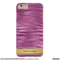 Personalized Girly Pink Gold Stripes Giraffe Case Barely There iPhone 6 Plus Case